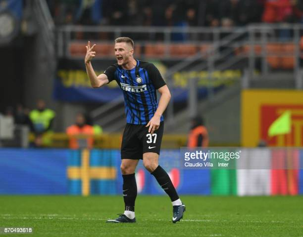 Milan Skriniar of FC Internazionale reacts during the Serie A match between FC Internazionale and Torino FC at Stadio Giuseppe Meazza on November 5...