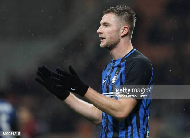 Milan Skriniar of FC Internazionale reacts during the TIM Cup match between AC Milan and FC Internazionale at Stadio Giuseppe Meazza on December 27...