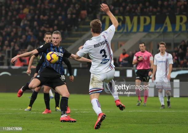 Milan Skriniar of FC Internazionale scores a disallowed goal during the Serie A match between FC Internazionale and UC Sampdoria at Stadio Giuseppe...