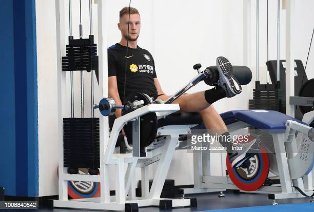 Milan Skriniar of FC Internazionale trains in the gym during the FC Internazionale training session at the club's training ground Suning Training...