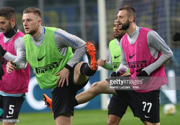 Milan Skriniar of FC Internazionale warms up ahead of the serie A match between FC Internazionale and SSC Napoli at Stadio Giuseppe Meazza on March...