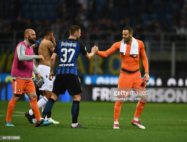 Milan Skriniar of FC Internazonale and Samir Handanovic of FC Internazionale celebrate the win at the end of the serie A match between FC...