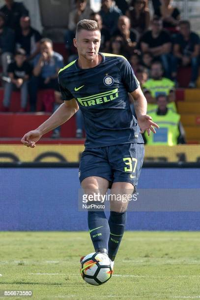 Milan Skriniar of Inter Milan during the Serie A match between Benevento and Inter Milan at Ciro Vigorito Stadium Roma Italy on 1 October 2017