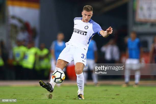 Milan Skriniar of Internazionale during the Serie A match between AS Roma and FC Internazionale on August 26 2017 in Rome Italy