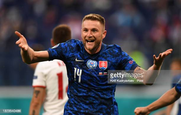 Milan Skriniar of Slovakia celebrates after scoring their side's second goal during the UEFA Euro 2020 Championship Group E match between Poland and...