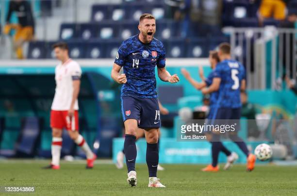 Milan Skriniar of Slovakia celebrates after victory in the UEFA Euro 2020 Championship Group E match between Poland and Slovakia at the Saint...