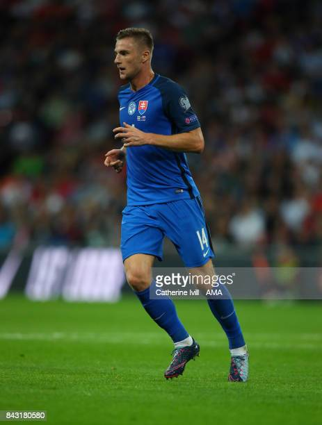 Milan Skriniar of Slovakia during the FIFA 2018 World Cup Qualifier between England and Slovakia at Wembley Stadium on September 4 2017 in London...