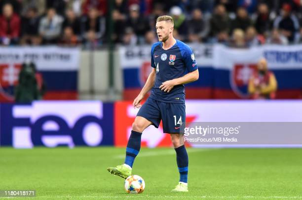 Milan Skriniar of Slovakia in action during the UEFA Euro 2020 qualifier between Slovakia and Wales on October 10, 2019 in Trnava, Slovakia.