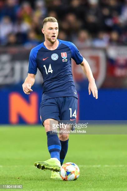 Milan Skriniar of Slovakia in action during the UEFA Euro 2020 qualifier between Slovakia and Wales on October 10 2019 in Trnava Slovakia