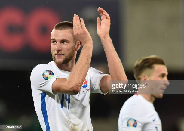 Milan Skriniar of Slovakia reacts at the final whistle during the UEFA EURO 2020 Play-Off Final between Northern Ireland and Slovakia at Windsor Park...