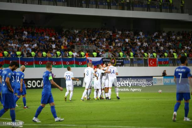 Milan Skriniar , Robert Mak , Denis Vavro and Stanislav Lobotka of Slovakia celebrate after a goal during a UEFA Euro 2020 European Championship...