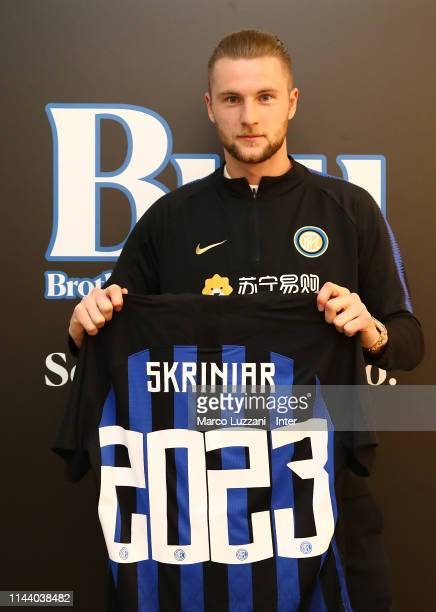 Milan Skriniar signs a contract extension with FC Internazionale at the club's training ground Suning Training Center in memory of Angelo Moratti on...