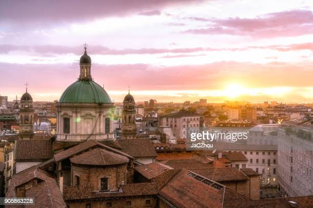 milan skyline with church cupolas, italy - milan stock pictures, royalty-free photos & images