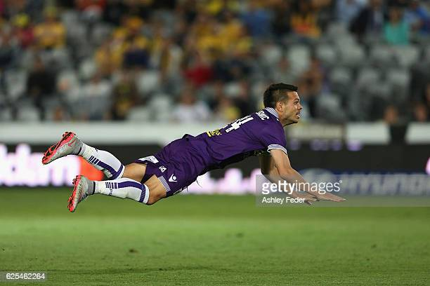Milan Smiljanic of the Glory dives during the round eight ALeague match between the Central Coast Mariners and the Perth Glory at Central Coast...