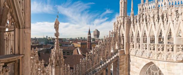 Milan Spires Statues Landmarks Duomo Terrace City Rooftop Panorama Italy Wall Art