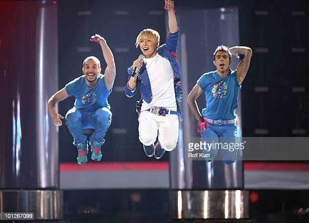 Milan Stankovic of Serbia performs his song 'Ovo je Balkan' during the Grand Final of the Eurovision Song Contest 2010 on May 29 2010 in Oslo Norway