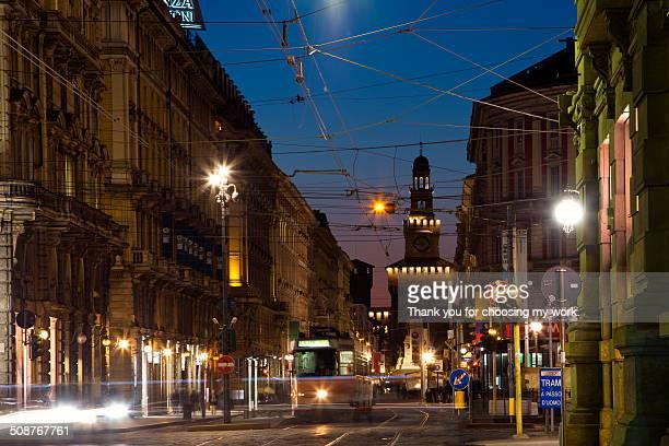Milan street at night.