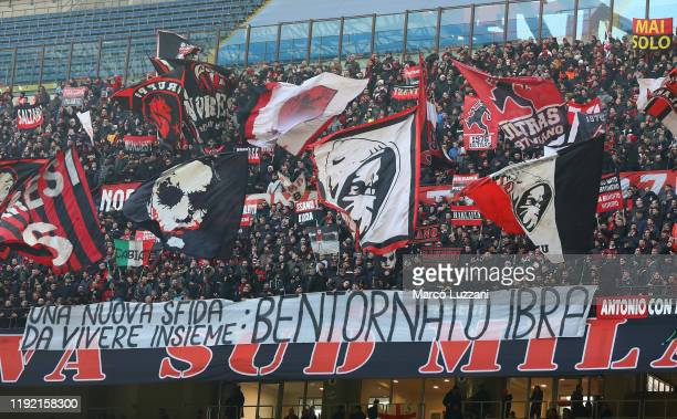 Milan supporters display a banner reading Welcome back Ibra before the Serie A match between AC Milan and UC Sampdoria at Stadio Giuseppe Meazza on...