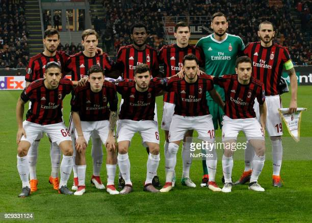 Milan team during the first leg of the round 16 of the UEFA Europa League 2017/18 between AC Milan and Arsenal FC at Giuseppe Meazza stadium on 08...