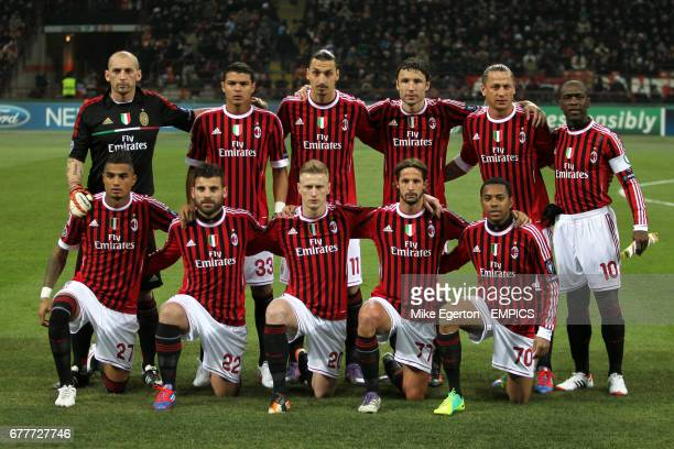 AC Milan team group Christian Abbiati Thiago Silva Zlatan Ibrahimovic Mark van Bommel Philippe Mexes and Clarence Seedorf KevinPrince Boateng Antonio...