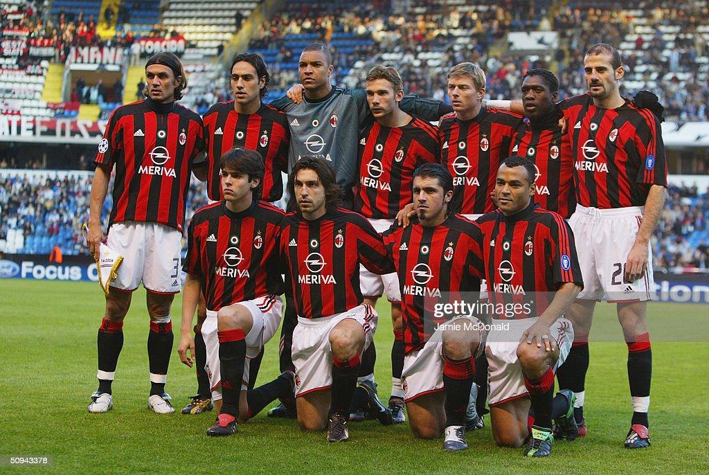 AC Milan team group taken before the UEFA Champions League match between Deportivo La Coruna and AC Milan at the Estadio Municipal de Riazor on April 7, 2004 in La Coruna.