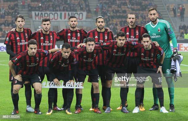 Milan team line up before the UEFA Europa League group D match between AC Milan and AEK Athens at Stadio Giuseppe Meazza on October 19 2017 in Milan...