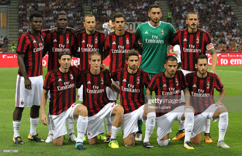AC Milan team line up before the UEFA Europa League Qualifying Play-Offs round first leg match between AC Milan and KF Shkendija 79 at Stadio Giuseppe Meazza on August 17, 2017 in Milan, Italy.