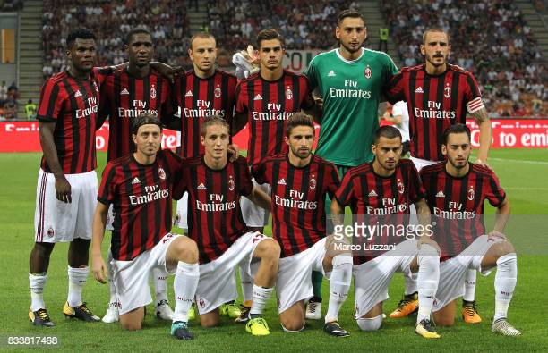 Milan team line up before the UEFA Europa League Qualifying PlayOffs round first leg match between AC Milan and KF Shkendija 79 at Stadio Giuseppe...