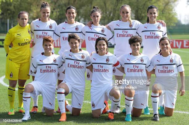 Milan team line up prior to the Serie A match between AC Milan Women and Fiorentina Women at Campo Sportivo Vismara on September 30 2018 in Milan...