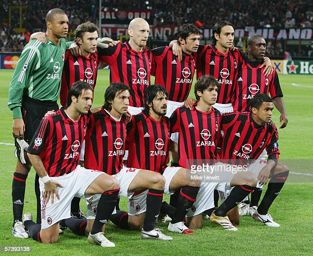Milan team line up prior to the UEFA Champions League Semi Final between AC Milan and Barcelona at the San Siro stadium on April 18 2006 in Milan...