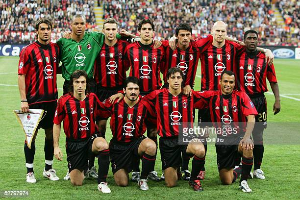 Milan team line up prior to the UEFA Champions League Semi Final First Leg match between AC Milan and PSV Eindhoven at The San Siro on April 26 2005...