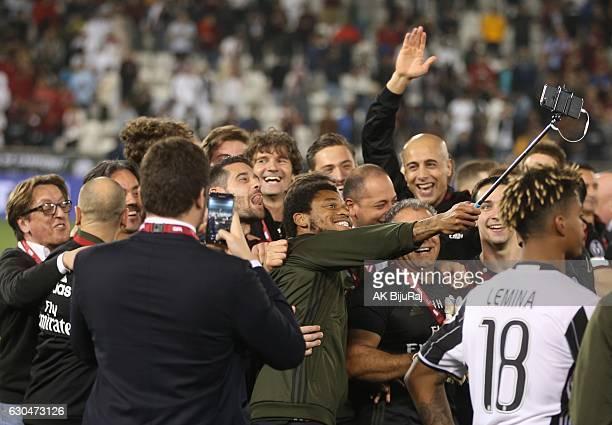 Milan team take a selfie to celebrate winning against Juventus FC during the Supercoppa TIM Doha 2016 match between Juventus FC and AC Milan at the...