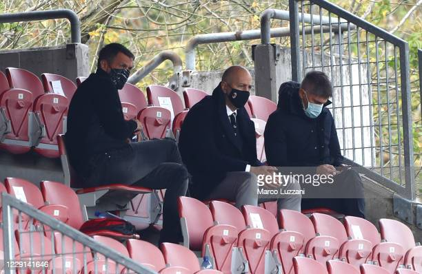 Milan Tecnical Area Director Paolo Maldini, AC Milan CEO Ivan Gazidis and AC Milan Sport Director Frederic Massara look on during the Women Serie A...