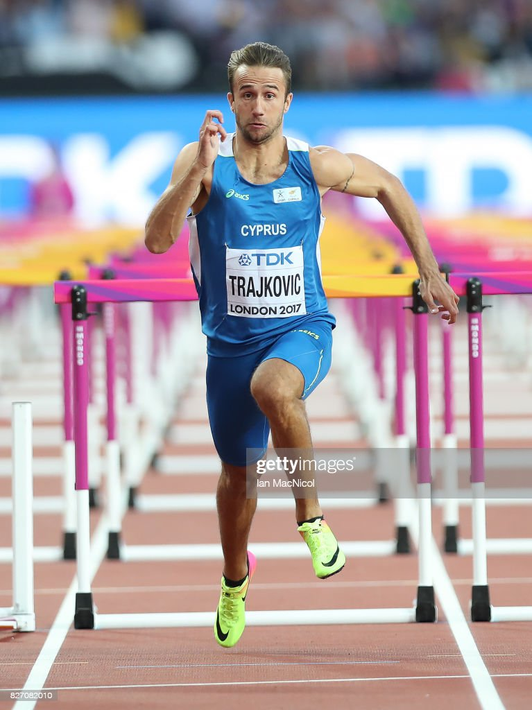 Milan Trajkovic of Cyprus competes in the 110m Hurdles semi final during day three of the 16th IAAF World Athletics Championships London 2017 at The London Stadium on August 6, 2017 in London, United Kingdom.