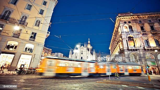 Milan tram in motion.