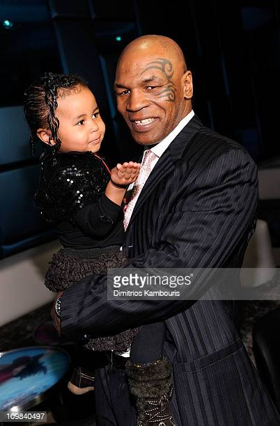 Milan Tyson and Mike Tyson attend Animal Planet's Taking On Tyson premiere Party at the Gansevoort Hotel Park Avenue on March 2 2011 in New York City