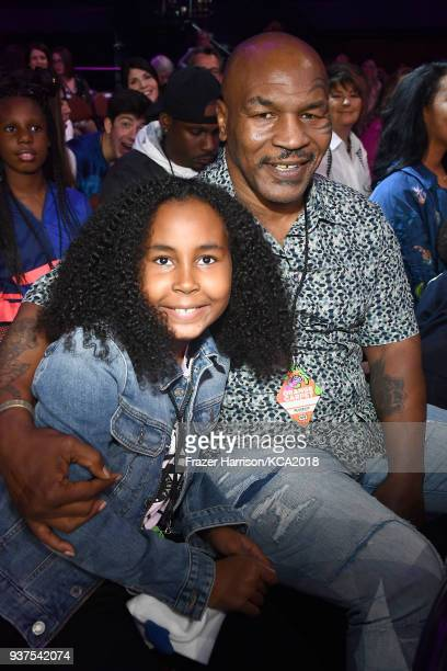 Milan Tyson and Mike Tyson attend Nickelodeon's 2018 Kids' Choice Awards at The Forum on March 24 2018 in Inglewood California