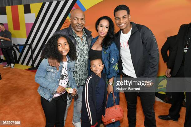 Milan Tyson Mike Tyson Lakiha Tyson Miguel Tyson and Morocco Tyson attends Nickelodeon's 2018 Kids' Choice Awards at The Forum on March 24 2018 in...