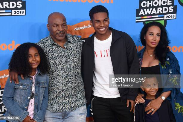 Milan Tyson, Mike Tyson, Miguel Tyson, Morocco Tyson and Lakiha Tyson attend Nickelodeon's 2018 Kids' Choice Awards at The Forum on March 24, 2018 in...