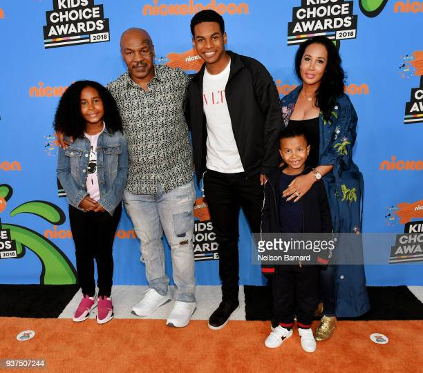 Milan Tyson Mike Tyson Miguel Tyson Morocco Tyson and Lakiha Tyson attends Nickelodeon's 2018 Kids' Choice Awards at The Forum on March 24 2018 in...