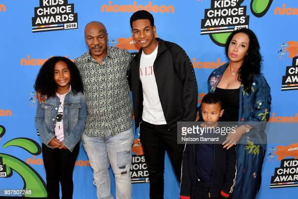 Milan Tyson, Mike Tyson, Miguel Tyson, Morocco Tyson and Lakiha Tyson attends Nickelodeon's 2018 Kids' Choice Awards at The Forum on March 24, 2018...