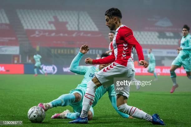 Milan van Ewijk or ADO Den Haag, Caner Cavlan or FC Emmen during the Dutch Eredivisie match between FC Emmen and ADO Den Haag at De Oude Meerdijk on...