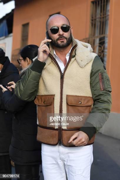 Milan Vukmirovic arrives at the Dsquared2 show during Milan Men's Fashion Week Fall/Winter 2018/19 on January 14 2018 in Milan Italy