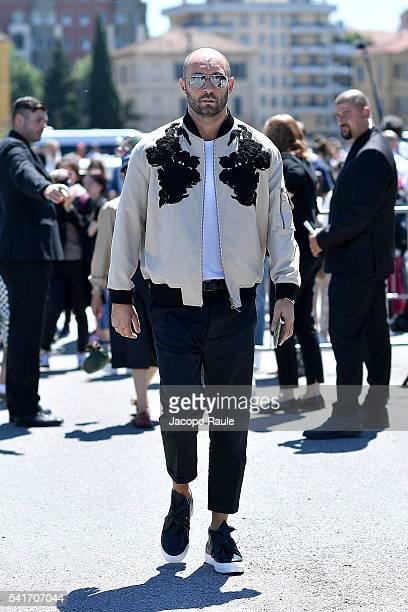 Milan Vukmirovic arrives at the Gucci show during Milan Men's Fashion Week Spring/Summer 2017 on June 20 2016 in Milan Italy