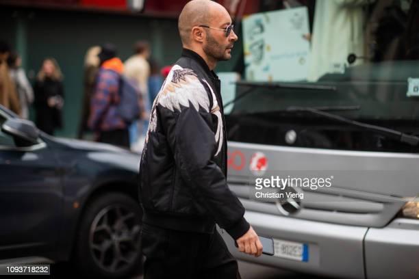 Milan Vukmirovic is seen outside Sunnei during Milan Menswear Fashion Week Autumn/Winter 2019/20 on January 13 2019 in Milan Italy