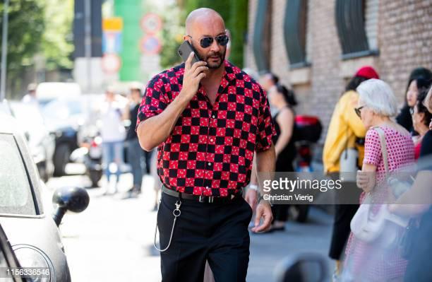 Milan Vukmirovic is seen outside Tod's presentation during the Milan Men's Fashion Week Spring/Summer 2020 on June 16 2019 in Milan Italy