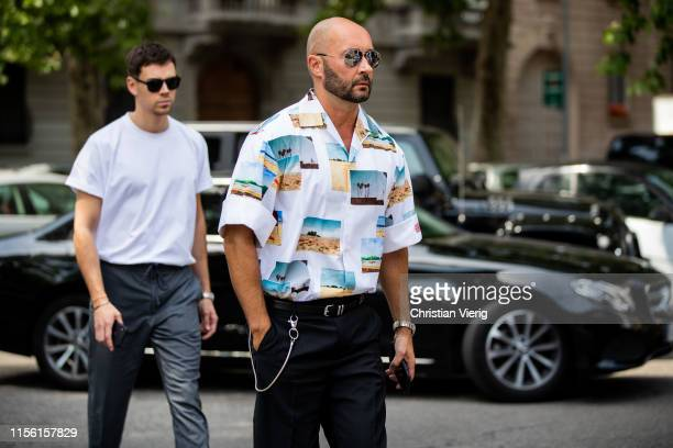Milan Vukmirovic is seen wearing button shirt with print outside Marni during the Milan Men's Fashion Week Spring/Summer 2020 on June 15 2019 in...