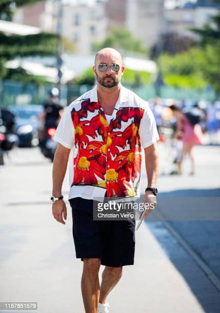 Milan Vukmirovic is seen wearing button shirt with print outside Lanvin during Paris Fashion Week - Menswear Spring/Summer 2020 on June 23, 2019 in...