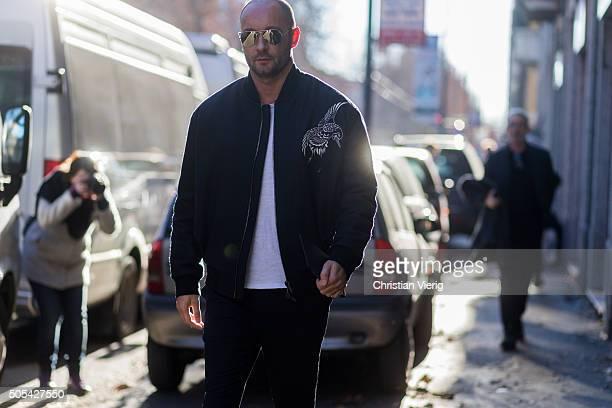 Milan Vukmirovic outside Calvin Klein during Milan Men's Fashion Week Fall/Winter 2016/17 on January 17 in Milan Italy