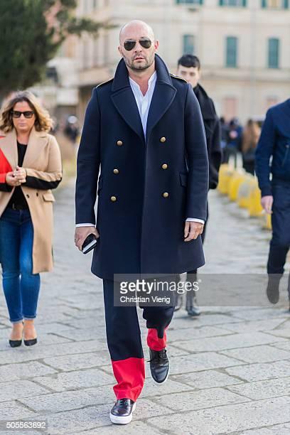 Milan Vukmirovic outside Gucci during Milan Men's Fashion Week Fall/Winter 2016/17 on January 18 in Milan Italy
